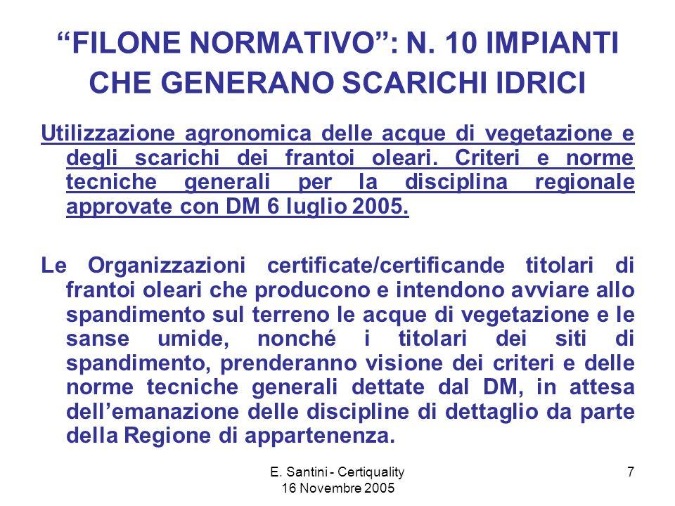 E. Santini - Certiquality 16 Novembre 2005 7 FILONE NORMATIVO: N.