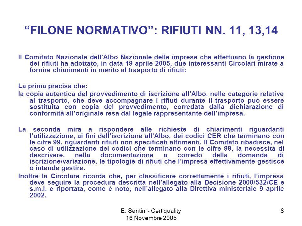 E. Santini - Certiquality 16 Novembre 2005 8 FILONE NORMATIVO: RIFIUTI NN.