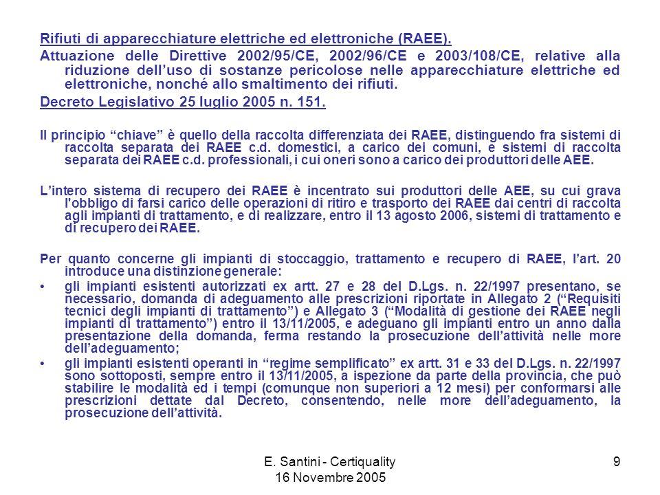 E. Santini - Certiquality 16 Novembre 2005 9 Rifiuti di apparecchiature elettriche ed elettroniche (RAEE). Attuazione delle Direttive 2002/95/CE, 2002