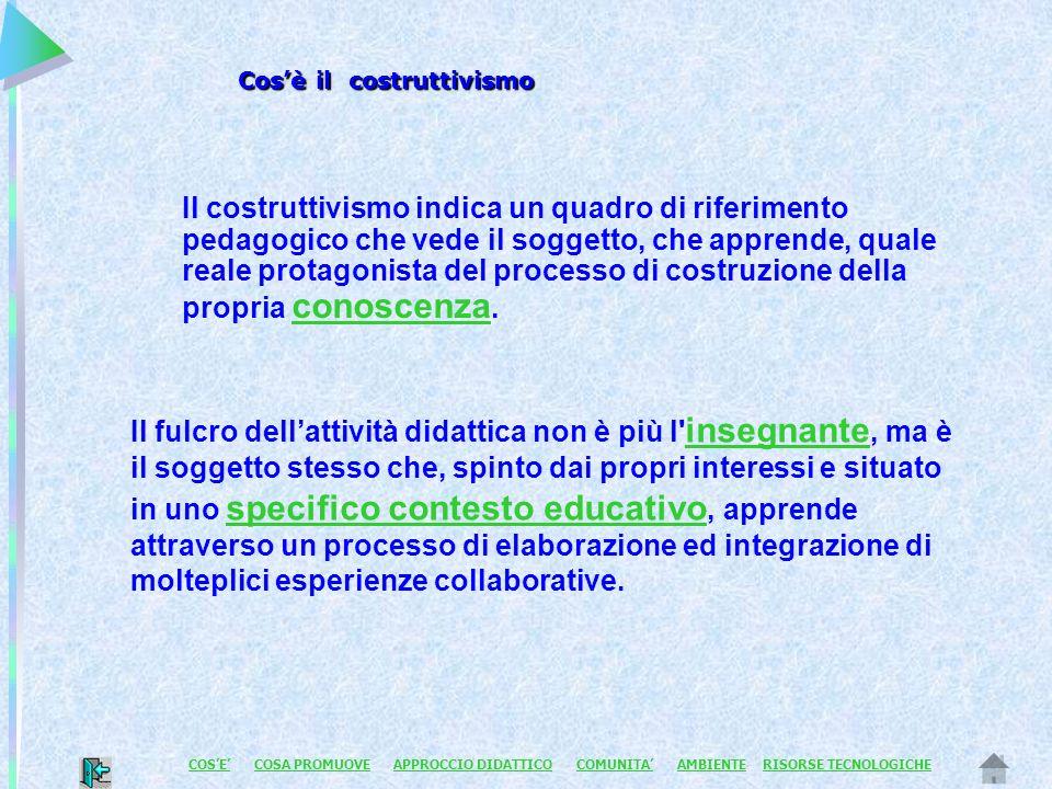 Il costruttivismo indica un quadro di riferimento pedagogico che vede il soggetto, che apprende, quale reale protagonista del processo di costruzione della propria conoscenza.
