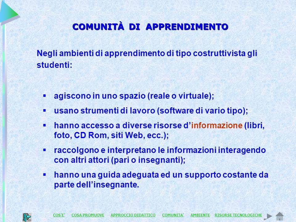 COMUNITÀ DI APPRENDIMENTO Negli ambienti di apprendimento di tipo costruttivista gli studenti: agiscono in uno spazio (reale o virtuale); usano strume