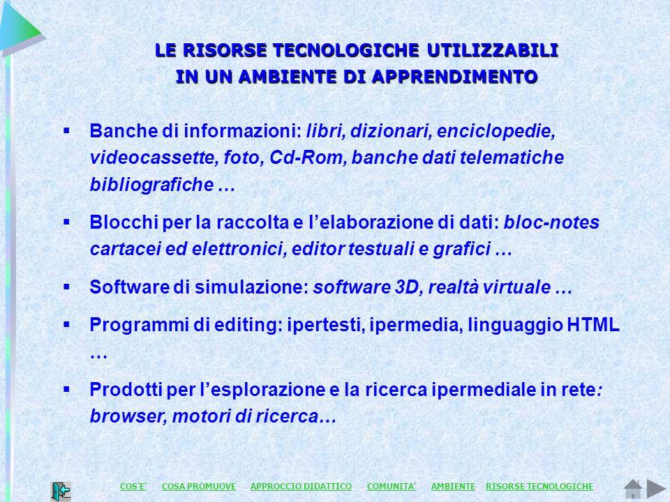 LE RISORSE TECNOLOGICHE UTILIZZABILI IN UN AMBIENTE DI APPRENDIMENTO Banche di informazioni: libri, dizionari, enciclopedie, videocassette, foto, Cd-R