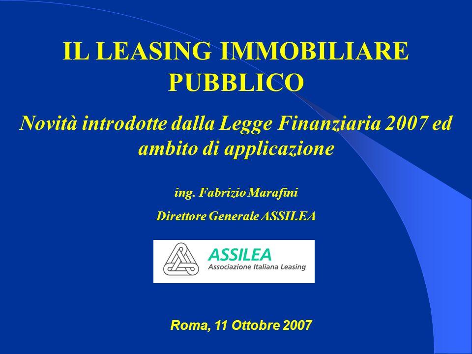 IL LEASING IMMOBILIARE PUBBLICO Novità introdotte dalla Legge Finanziaria 2007 ed ambito di applicazione ing. Fabrizio Marafini Direttore Generale ASS