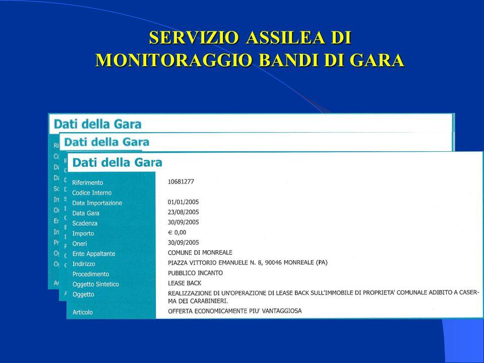 SERVIZIO ASSILEA DI MONITORAGGIO BANDI DI GARA