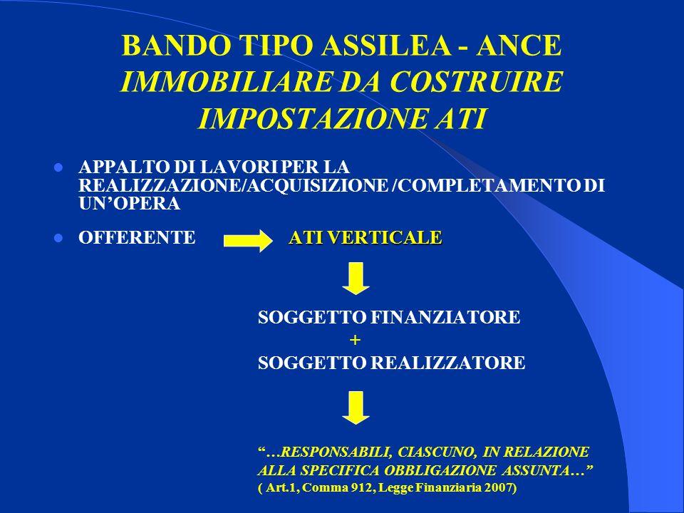 BANDO TIPO ASSILEA - ANCE IMMOBILIARE DA COSTRUIRE IMPOSTAZIONE ATI APPALTO DI LAVORI PER LA REALIZZAZIONE/ACQUISIZIONE /COMPLETAMENTO DI UNOPERA ATI