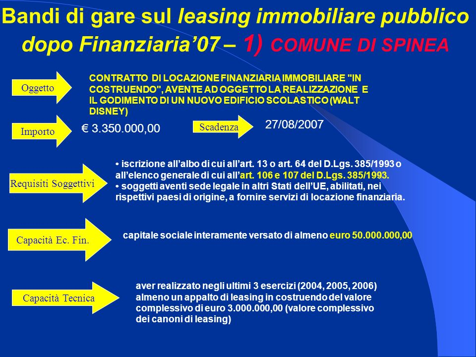 Bandi di gare sul leasing immobiliare pubblico dopo Finanziaria07 – 1) COMUNE DI SPINEA Importo 3.350.000,00 CONTRATTO DI LOCAZIONE FINANZIARIA IMMOBILIARE IN COSTRUENDO , AVENTE AD OGGETTO LA REALIZZAZIONE E IL GODIMENTO DI UN NUOVO EDIFICIO SCOLASTICO (WALT DISNEY) Oggetto iscrizione allalbo di cui allart.