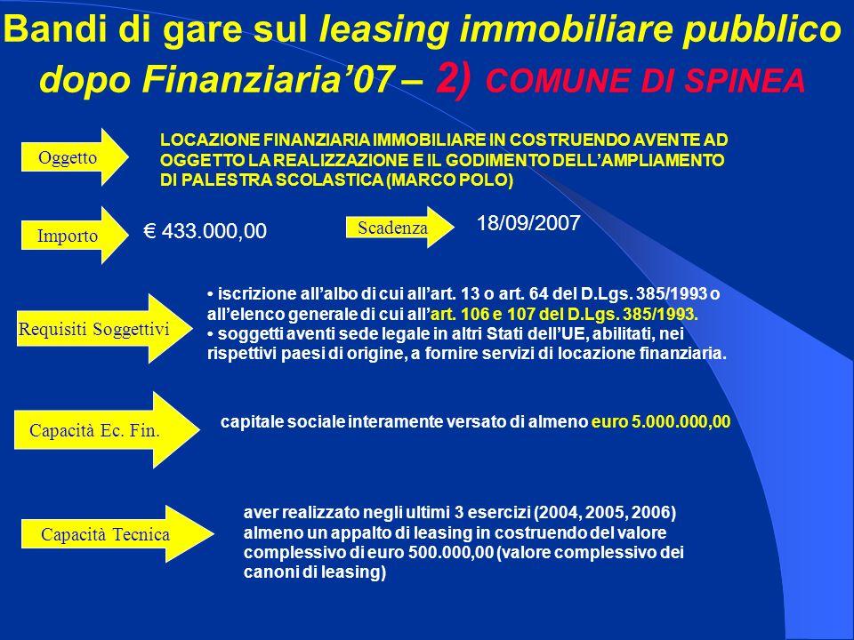 Bandi di gare sul leasing immobiliare pubblico dopo Finanziaria07 – 2) COMUNE DI SPINEA Importo 433.000,00 LOCAZIONE FINANZIARIA IMMOBILIARE IN COSTRUENDO AVENTE AD OGGETTO LA REALIZZAZIONE E IL GODIMENTO DELLAMPLIAMENTO DI PALESTRA SCOLASTICA (MARCO POLO) Oggetto iscrizione allalbo di cui allart.
