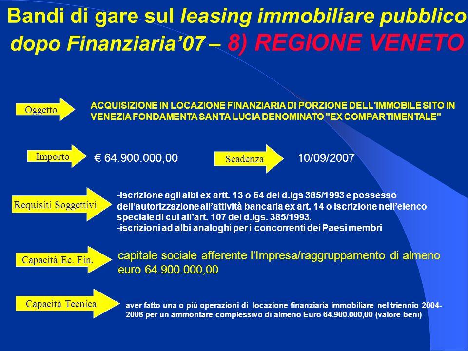 Importo 64.900.000,00 ACQUISIZIONE IN LOCAZIONE FINANZIARIA DI PORZIONE DELL'IMMOBILE SITO IN VENEZIA FONDAMENTA SANTA LUCIA DENOMINATO