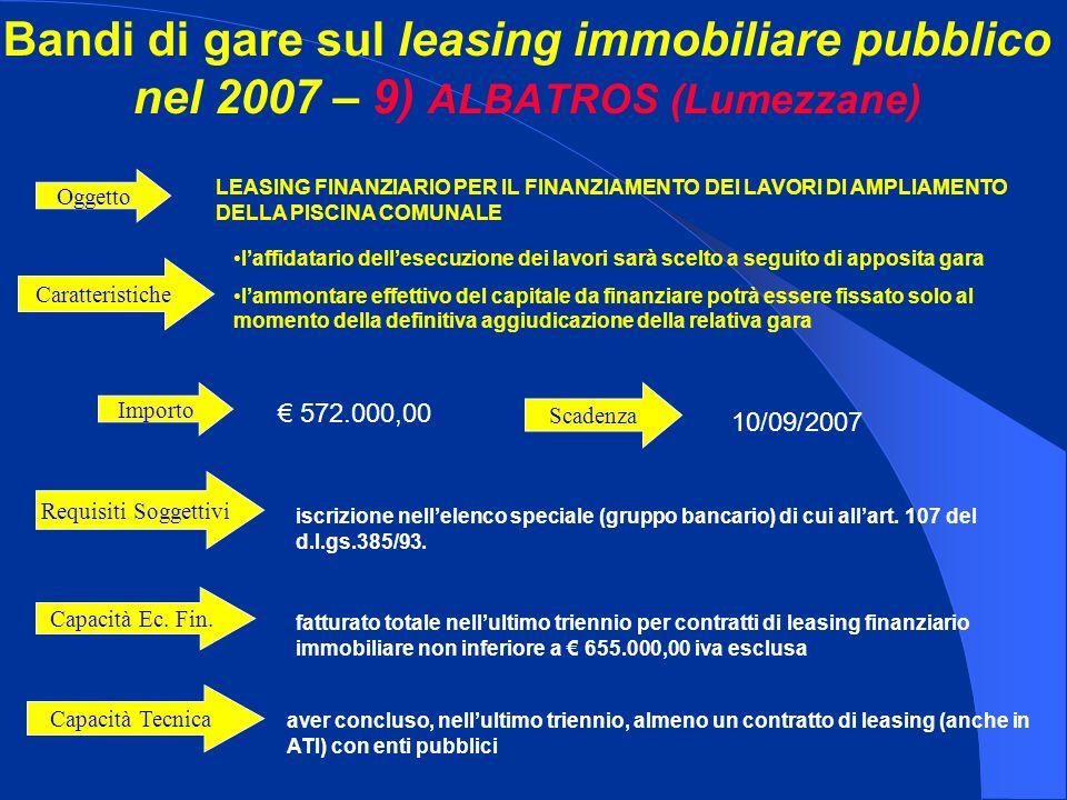 Bandi di gare sul leasing immobiliare pubblico nel 2007 – 9) ALBATROS (Lumezzane) Importo 572.000,00 LEASING FINANZIARIO PER IL FINANZIAMENTO DEI LAVORI DI AMPLIAMENTO DELLA PISCINA COMUNALE Oggetto iscrizione nellelenco speciale (gruppo bancario) di cui allart.