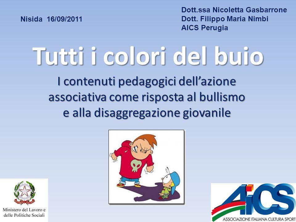 Tutti i colori del buio I contenuti pedagogici dellazione associativa come risposta al bullismo e alla disaggregazione giovanile Nisida 16/09/2011 Dott.ssa Nicoletta Gasbarrone Dott.