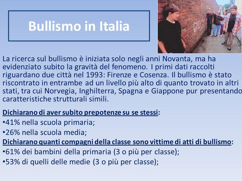 Bullismo in Italia La ricerca sul bullismo è iniziata solo negli anni Novanta, ma ha evidenziato subito la gravità del fenomeno.