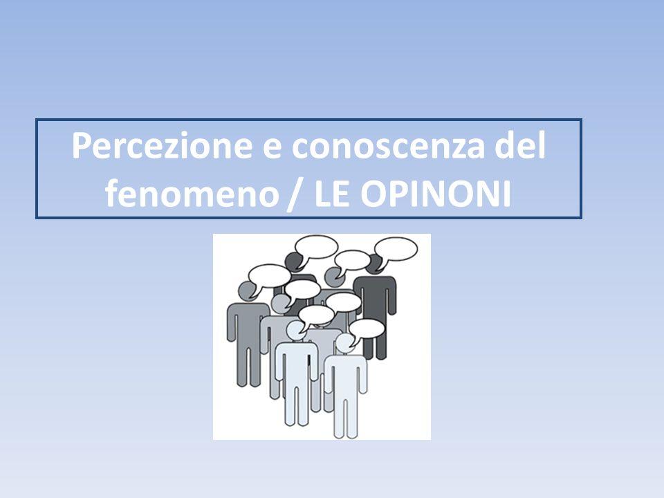 Percezione e conoscenza del fenomeno / LE OPINONI