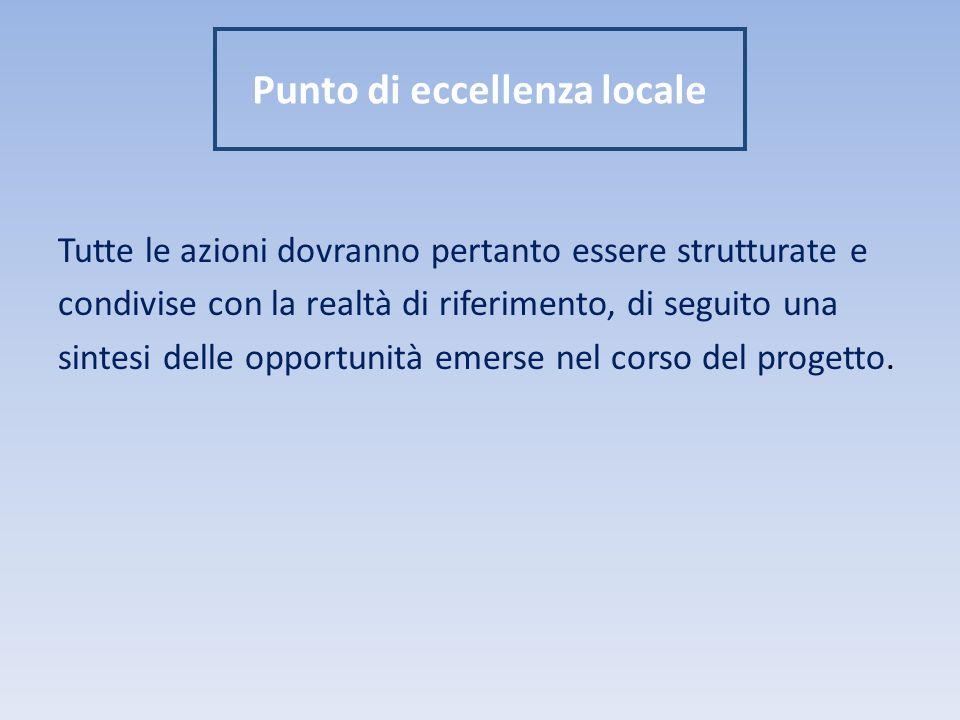 Punto di eccellenza locale Tutte le azioni dovranno pertanto essere strutturate e condivise con la realtà di riferimento, di seguito una sintesi delle opportunità emerse nel corso del progetto.