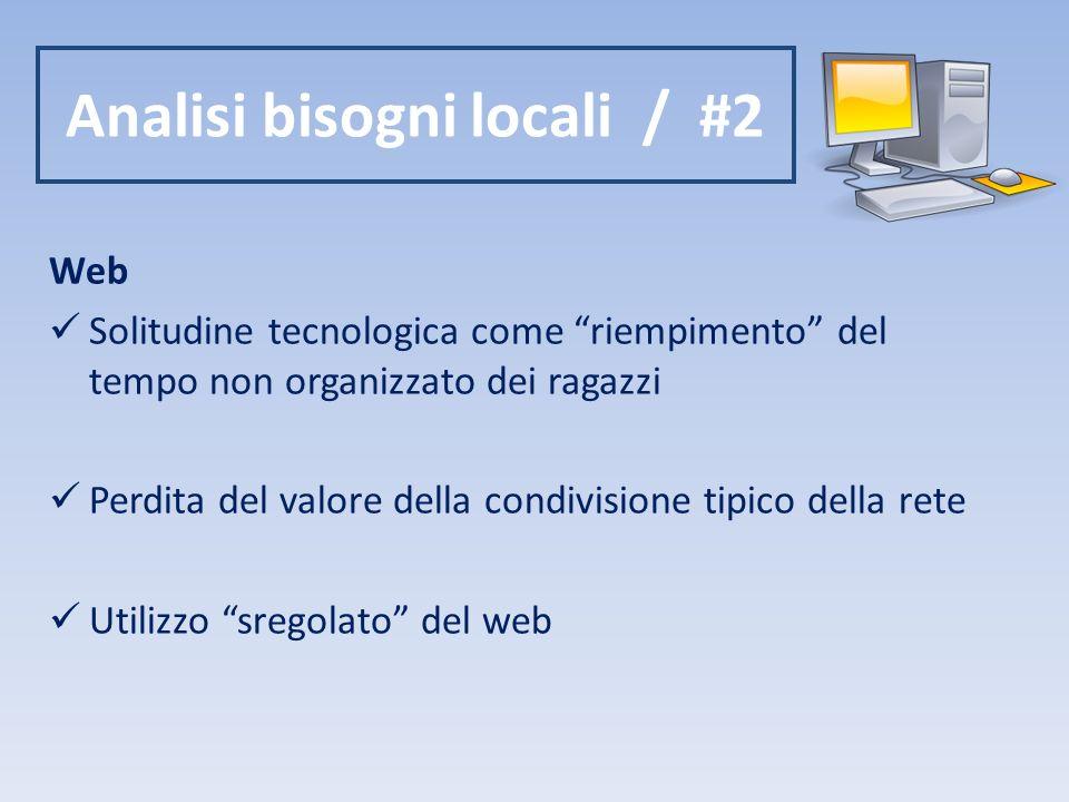 Analisi bisogni locali / #2 Web Solitudine tecnologica come riempimento del tempo non organizzato dei ragazzi Perdita del valore della condivisione tipico della rete Utilizzo sregolato del web