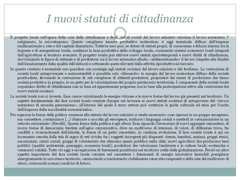 I nuovi statuti di cittadinanza Il progetto locale nell epoca della crisi della cittadinanza e degli statuti sociali del lavoro salariato valorizza il lavoro autonomo, l artigianato, la microimpresa.
