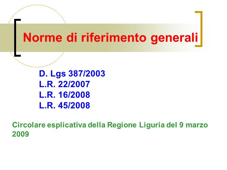 Norme di riferimento generali D. Lgs 387/2003 L.R. 22/2007 L.R. 16/2008 L.R. 45/2008 Circolare esplicativa della Regione Liguria del 9 marzo 2009