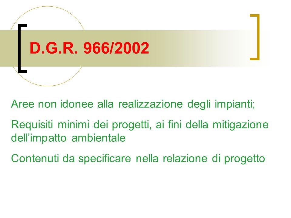 D.G.R. 966/2002 Aree non idonee alla realizzazione degli impianti; Requisiti minimi dei progetti, ai fini della mitigazione dellimpatto ambientale Con