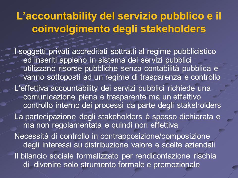 Laccountability del servizio pubblico e il coinvolgimento degli stakeholders I soggetti privati accreditati sottratti al regime pubblicistico ed inser