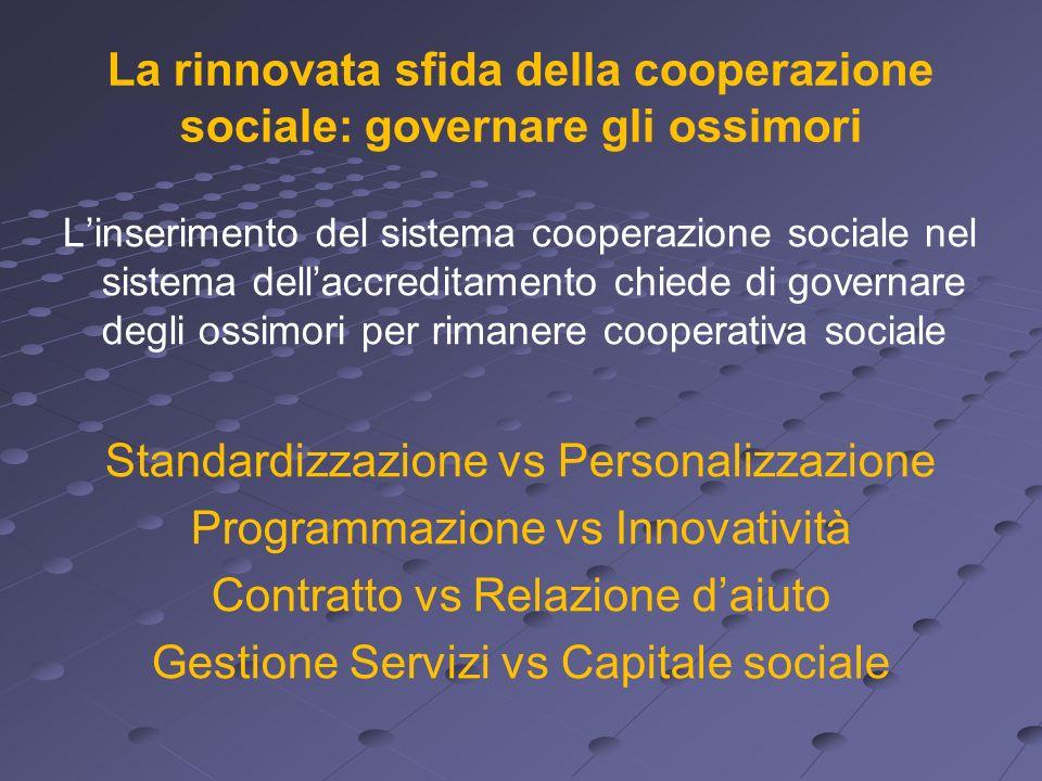 La rinnovata sfida della cooperazione sociale: governare gli ossimori Linserimento del sistema cooperazione sociale nel sistema dellaccreditamento chi