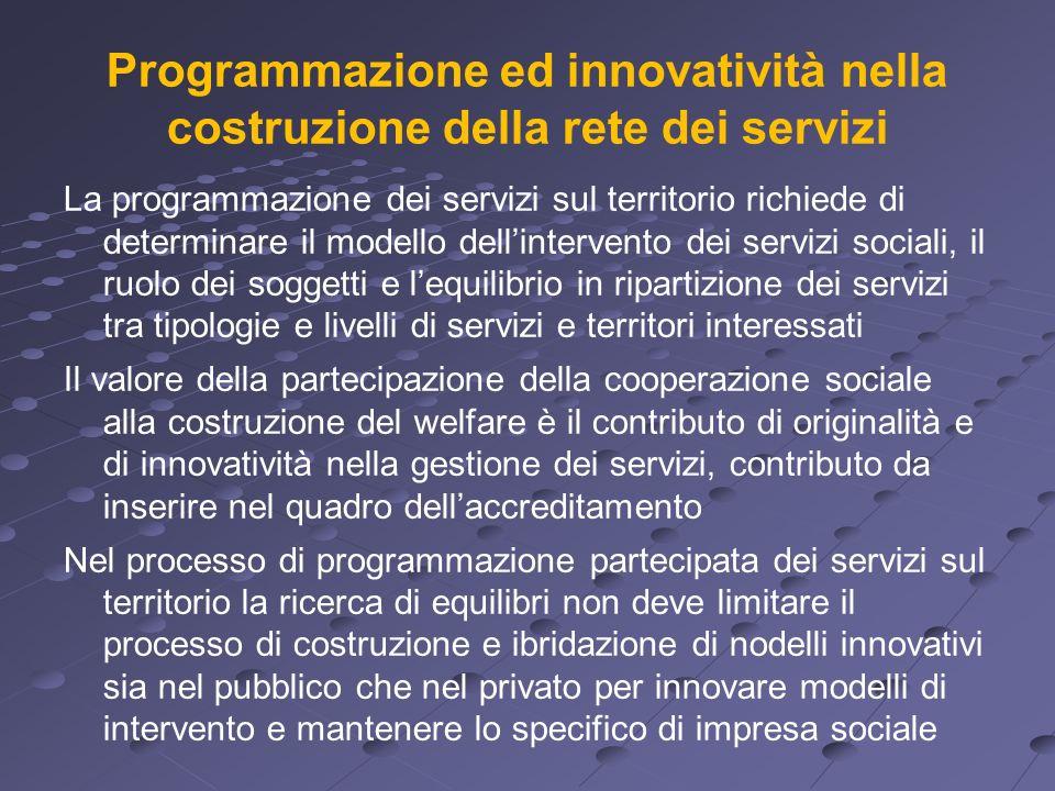Programmazione ed innovatività nella costruzione della rete dei servizi La programmazione dei servizi sul territorio richiede di determinare il modell