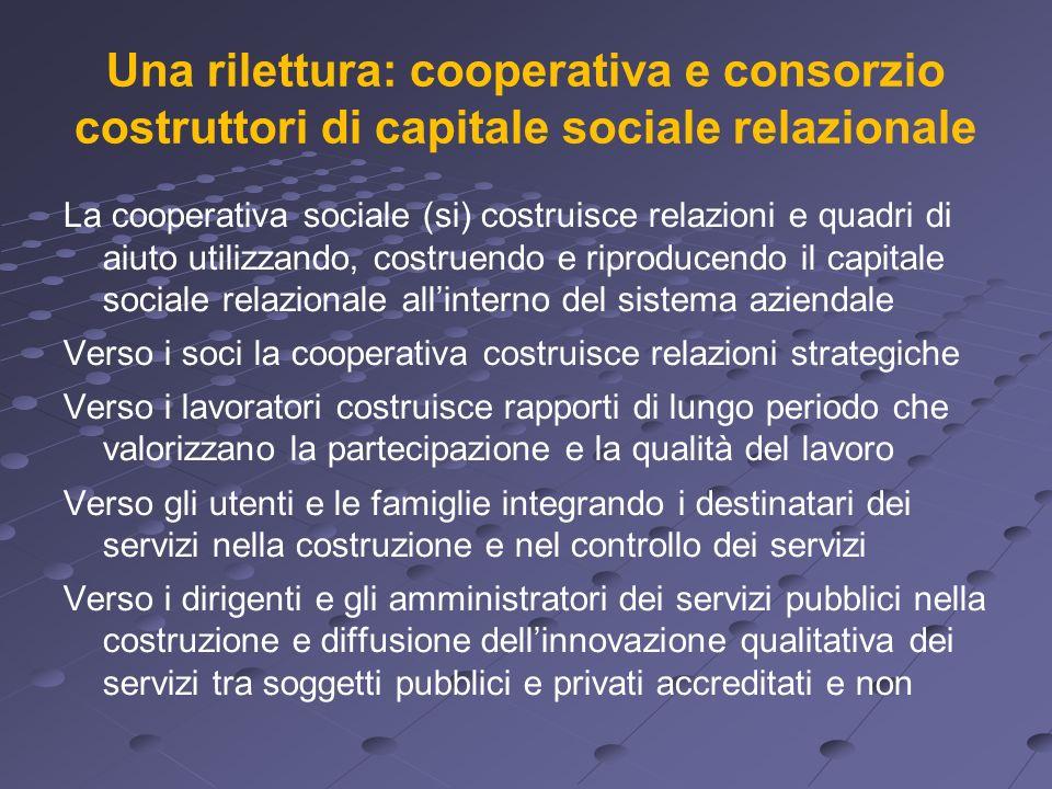 Una rilettura: cooperativa e consorzio costruttori di capitale sociale relazionale La cooperativa sociale (si) costruisce relazioni e quadri di aiuto