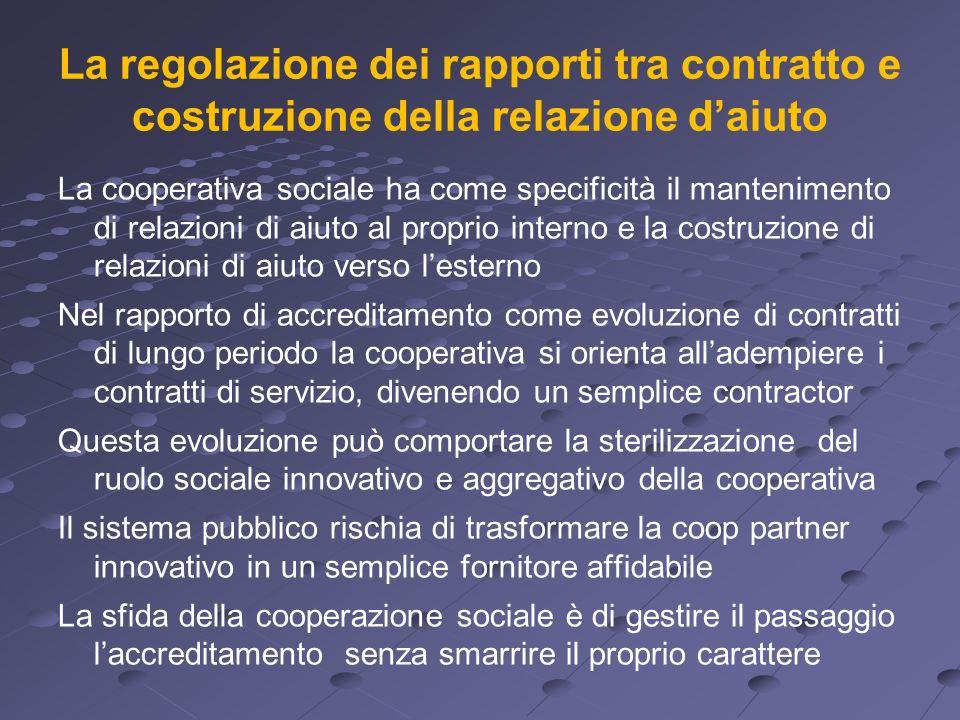 La regolazione dei rapporti tra contratto e costruzione della relazione daiuto La cooperativa sociale ha come specificità il mantenimento di relazioni