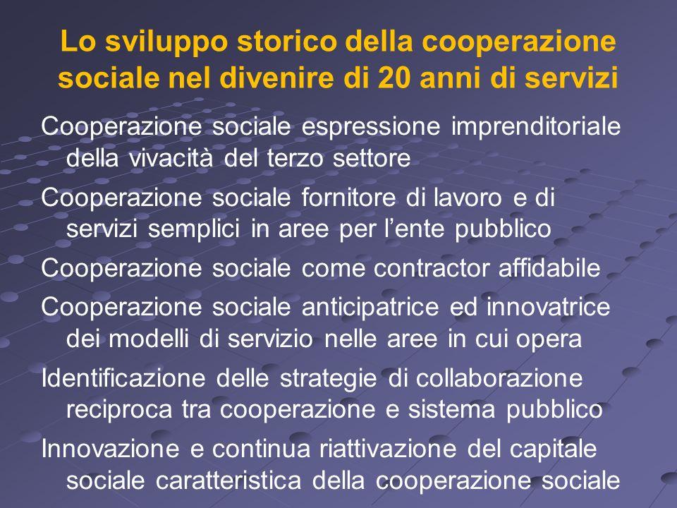 Lo sviluppo storico della cooperazione sociale nel divenire di 20 anni di servizi Cooperazione sociale espressione imprenditoriale della vivacità del