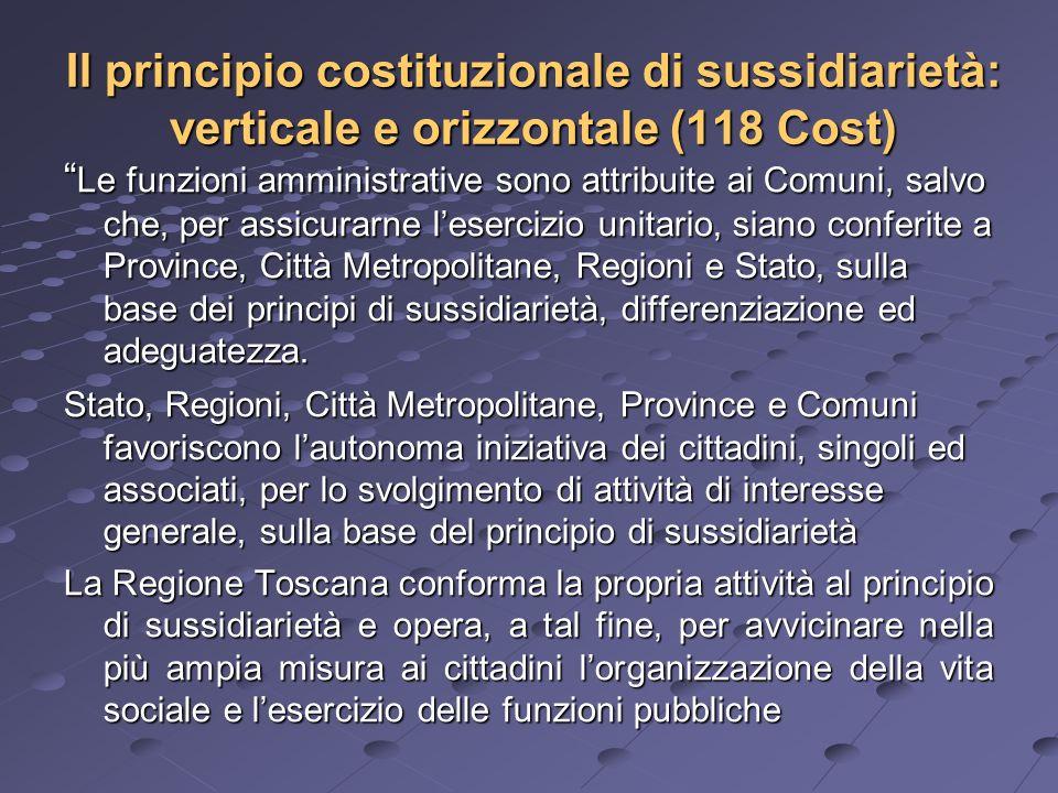 Il principio costituzionale di sussidiarietà: verticale e orizzontale (118 Cost) Le funzioni amministrative sono attribuite ai Comuni, salvo che, per