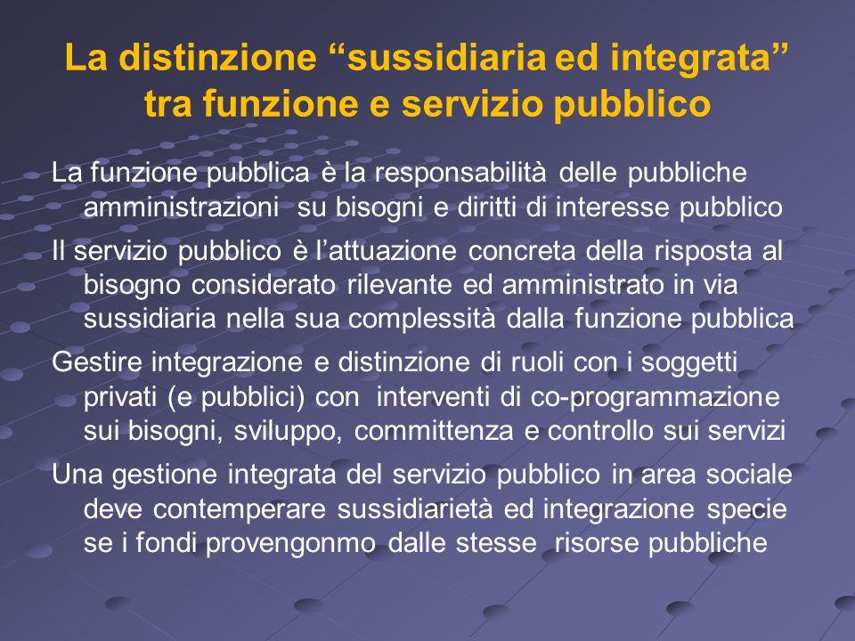 La distinzione sussidiaria ed integrata tra funzione e servizio pubblico La funzione pubblica è la responsabilità delle pubbliche amministrazioni su b