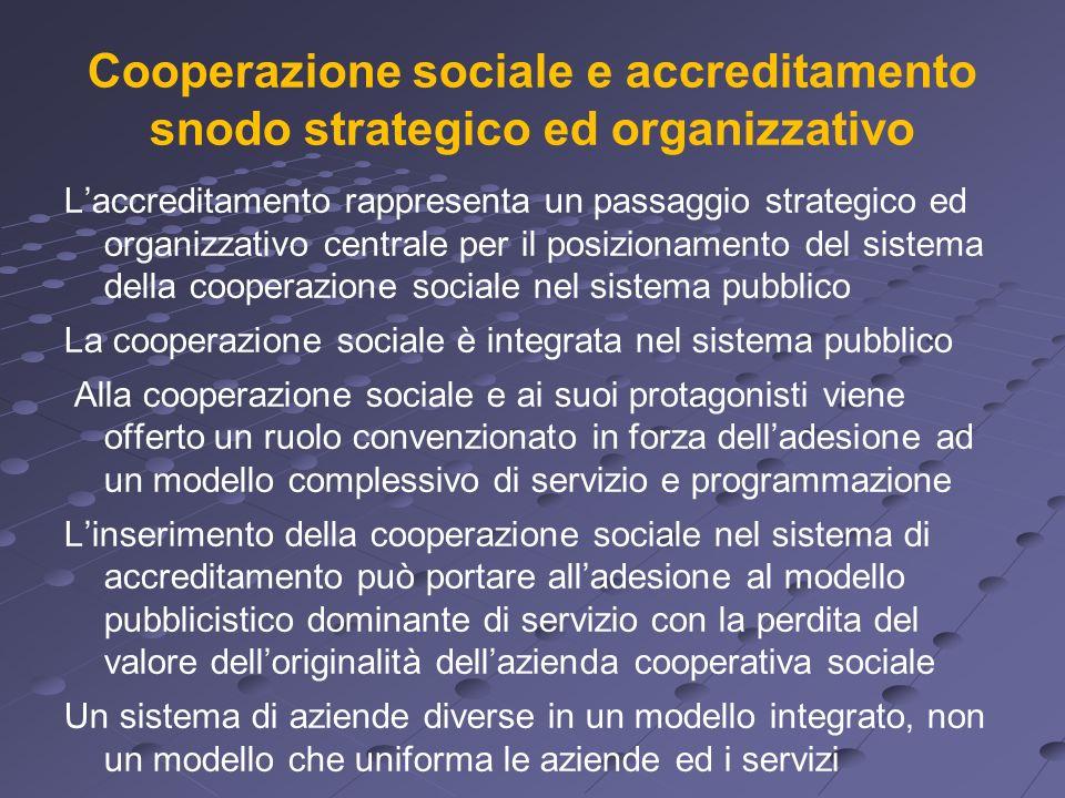 Cooperazione sociale e accreditamento snodo strategico ed organizzativo Laccreditamento rappresenta un passaggio strategico ed organizzativo centrale