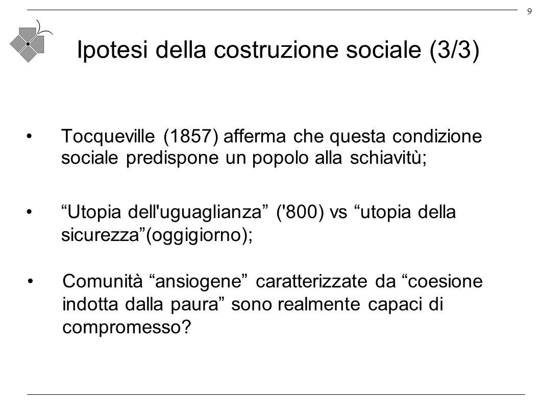 9 Ipotesi della costruzione sociale (3/3) Tocqueville (1857) afferma che questa condizione sociale predispone un popolo alla schiavitù; Utopia dell uguaglianza ( 800) vs utopia della sicurezza(oggigiorno); Comunità ansiogene caratterizzate da coesione indotta dalla paura sono realmente capaci di compromesso