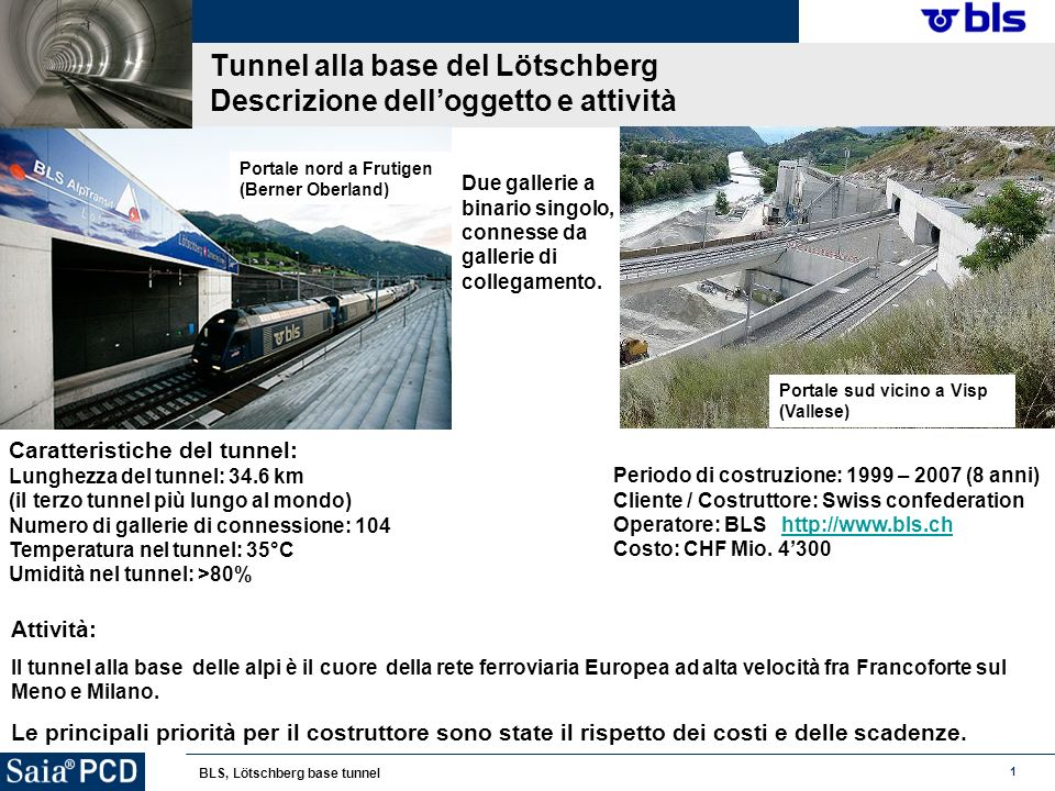 1 BLS, Lötschberg base tunnel Tunnel alla base del Lötschberg Descrizione delloggetto e attività Periodo di costruzione: 1999 – 2007 (8 anni) Cliente / Costruttore: Swiss confederation Operatore: BLS http://www.bls.chhttp://www.bls.ch Costo: CHF Mio.