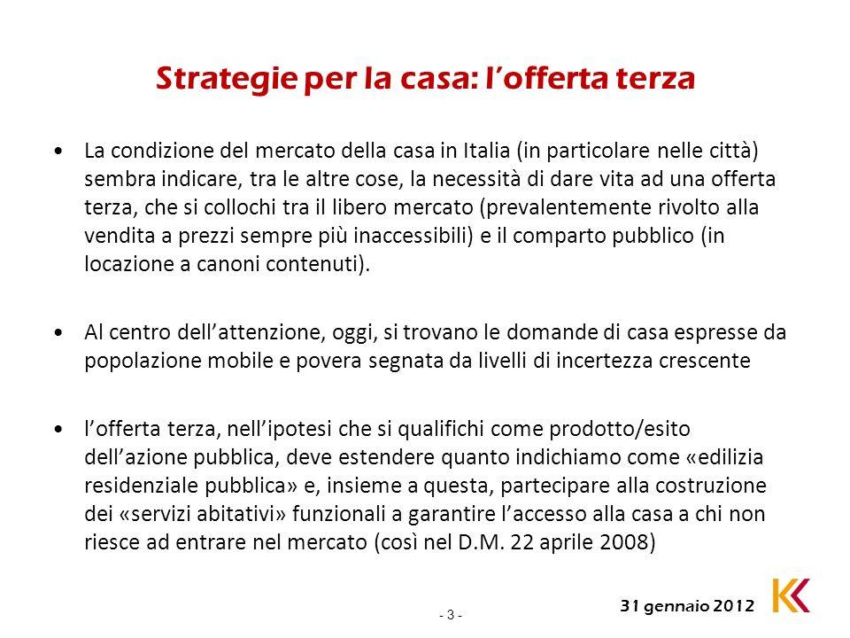 - 3 - 31 gennaio 2012 Strategie per la casa: lofferta terza La condizione del mercato della casa in Italia (in particolare nelle città) sembra indicar