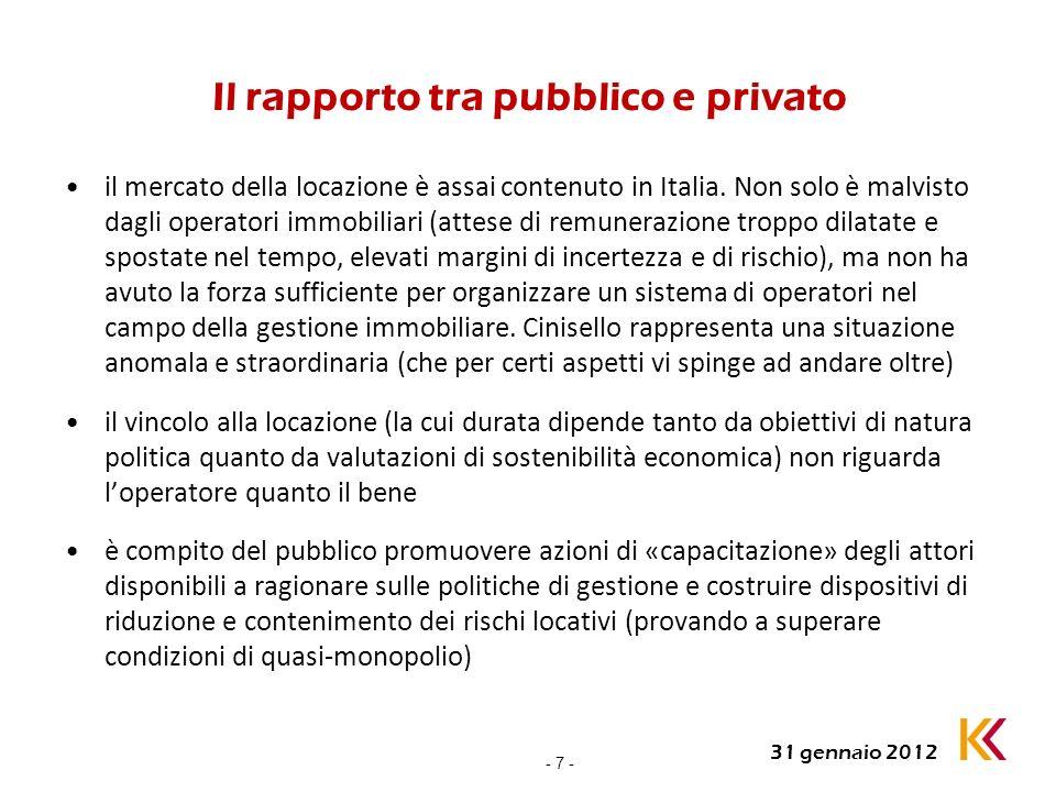 - 7 - 31 gennaio 2012 Il rapporto tra pubblico e privato il mercato della locazione è assai contenuto in Italia. Non solo è malvisto dagli operatori i