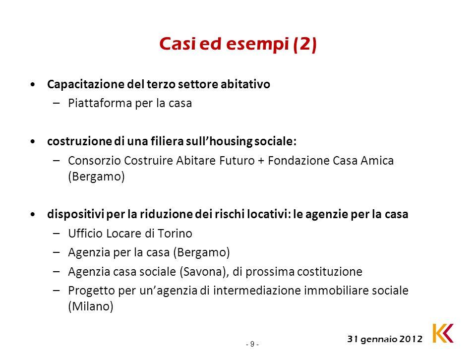 - 9 - 31 gennaio 2012 Casi ed esempi (2) Capacitazione del terzo settore abitativo –Piattaforma per la casa costruzione di una filiera sullhousing soc