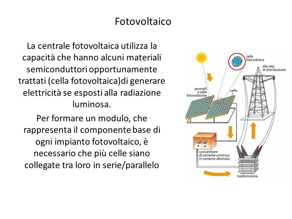 Fotovoltaico La centrale fotovoltaica utilizza la capacità che hanno alcuni materiali semiconduttori opportunamente trattati (cella fotovoltaica)di ge