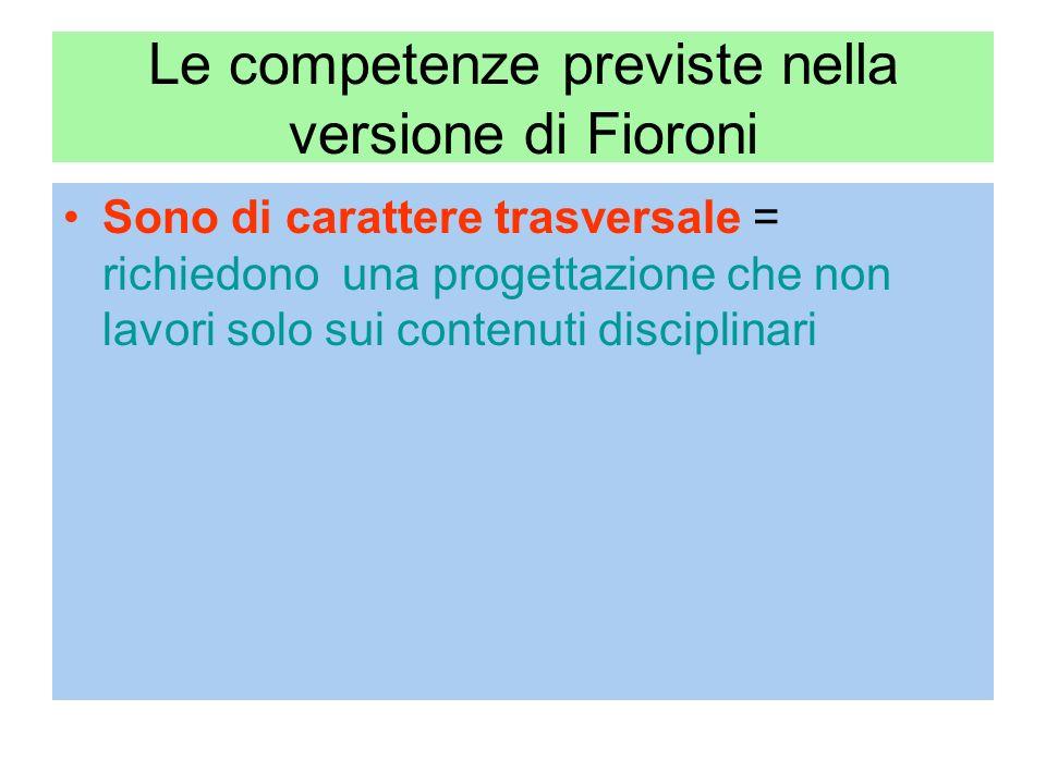 Le competenze previste nella versione di Fioroni Sono di carattere trasversale = richiedono una progettazione che non lavori solo sui contenuti disciplinari