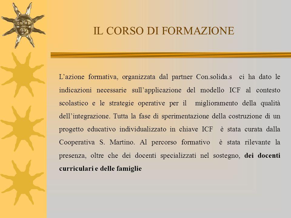 IL CORSO DI FORMAZIONE Lazione formativa, organizzata dal partner Con.solida.s ci ha dato le indicazioni necessarie sullapplicazione del modello ICF a