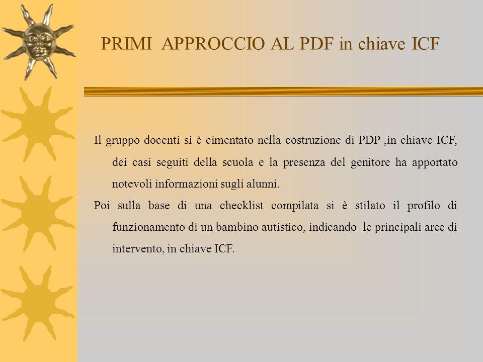 PRIMI APPROCCIO AL PDF in chiave ICF Il gruppo docenti si è cimentato nella costruzione di PDP,in chiave ICF, dei casi seguiti della scuola e la prese
