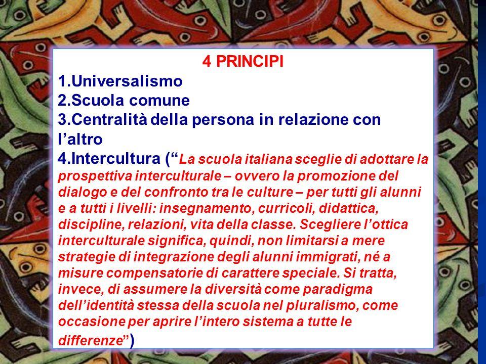 4 PRINCIPI 1.Universalismo 2.Scuola comune 3.Centralità della persona in relazione con laltro 4.Intercultura ( La scuola italiana sceglie di adottare