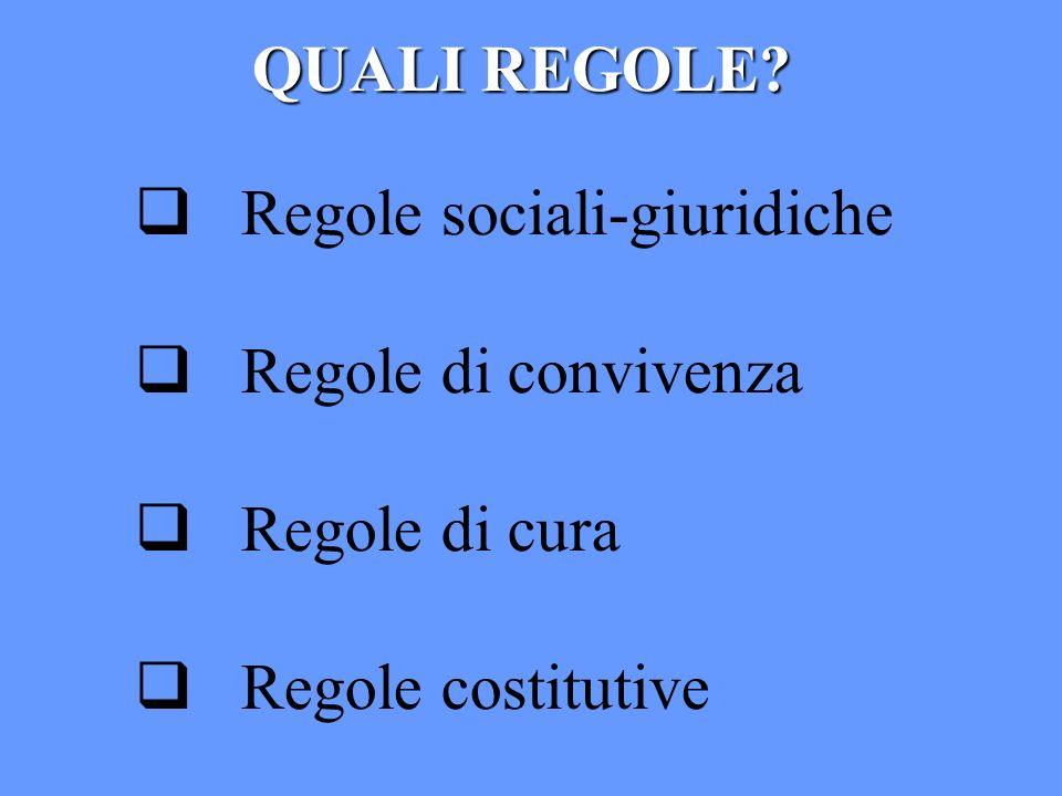 QUALI REGOLE? Regole sociali-giuridiche Regole di convivenza Regole di cura Regole costitutive