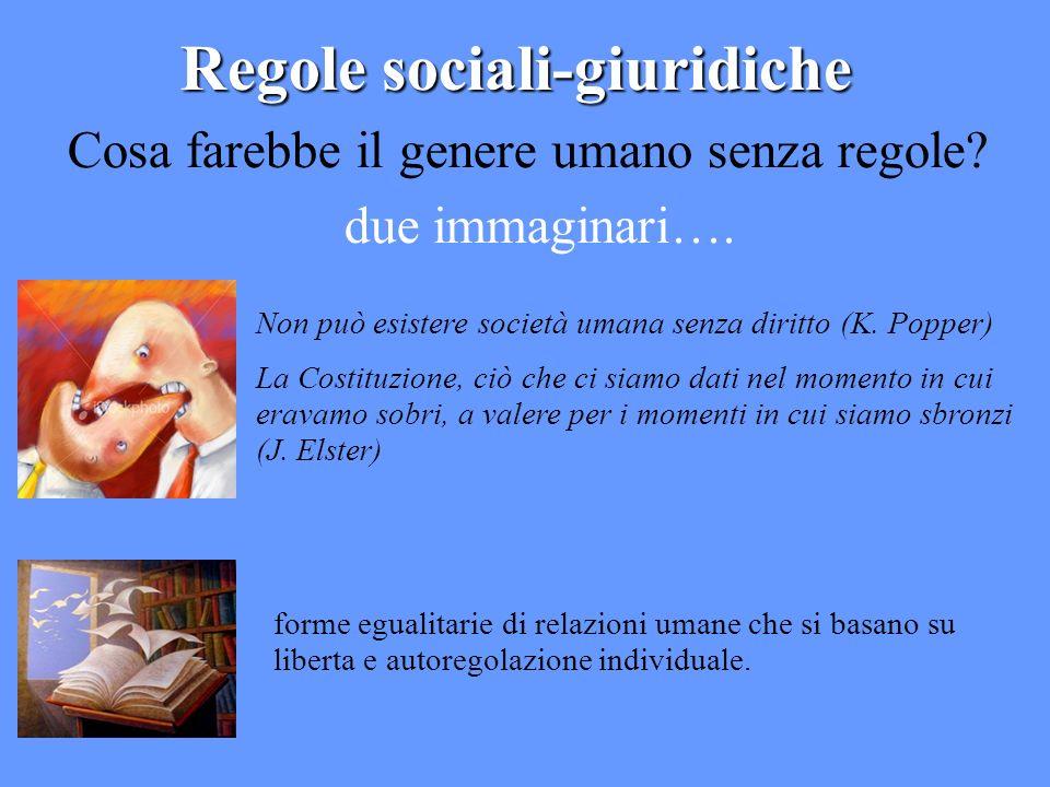 Regole sociali-giuridiche Cosa farebbe il genere umano senza regole? due immaginari…. Non può esistere società umana senza diritto (K. Popper) La Cost
