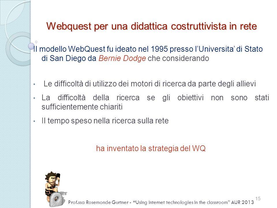 Webquest per una didattica costruttivista in rete Il modello WebQuest fu ideato nel 1995 presso lUniversita di Stato di San Diego da Bernie Dodge che