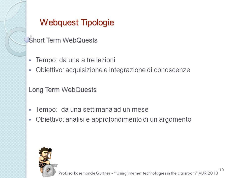 Webquest Tipologie Short Term WebQuests Tempo: da una a tre lezioni Obiettivo: acquisizione e integrazione di conoscenze Long Term WebQuests Tempo: da