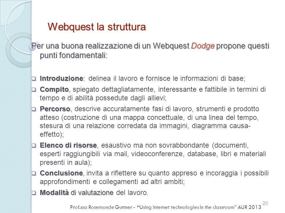 Webquest la struttura Per una buona realizzazione di un Webquest Dodge propone questi punti fondamentali: Introduzione Introduzione: delinea il lavoro