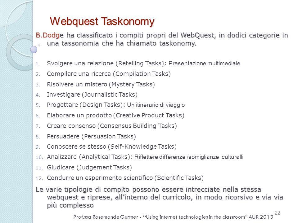 Webquest Taskonomy B.Dodge ha classificato i compiti propri del WebQuest, in dodici categorie in una tassonomia che ha chiamato taskonomy. 1. Svolgere