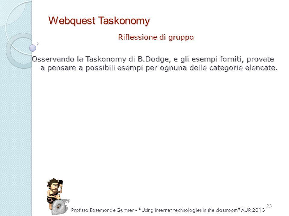 Webquest Taskonomy Riflessione di gruppo Osservando la Taskonomy di B.Dodge, e gli esempi forniti, provate a pensare a possibili esempi per ognuna del