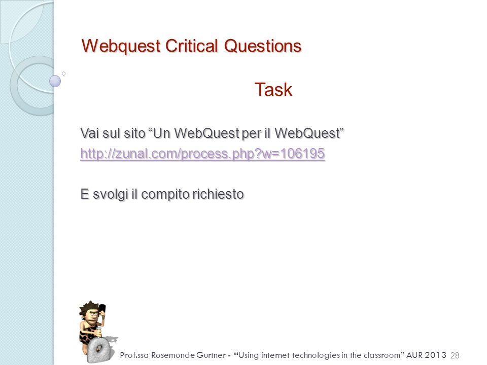 Webquest Critical Questions Task Vai sul sito Un WebQuest per il WebQuest http://zunal.com/process.php?w=106195 E svolgi il compito richiesto 28 Prof.