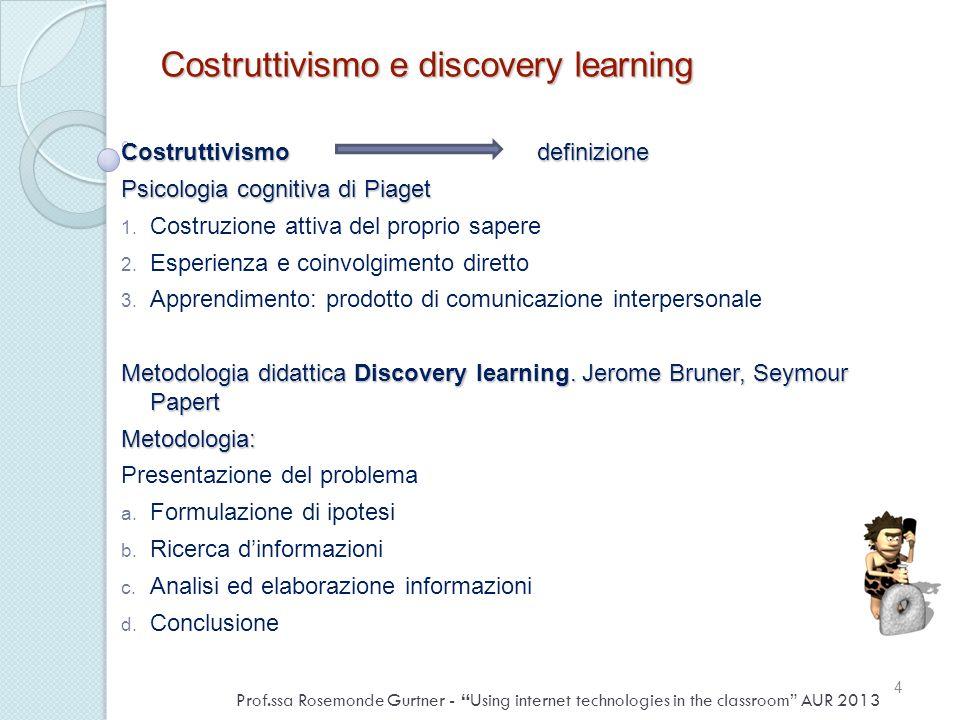 Costruttivismo e discovery learning Costruttivismo definizione Psicologia cognitiva di Piaget 1. Costruzione attiva del proprio sapere 2. Esperienza e