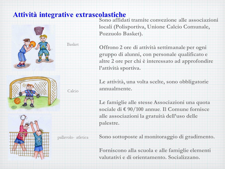 Basket Calcio pallavolo- atletica Sono affidati tramite convezione alle associazioni locali (Polisportiva, Unione Calcio Comunale, Pozzuolo Basket).